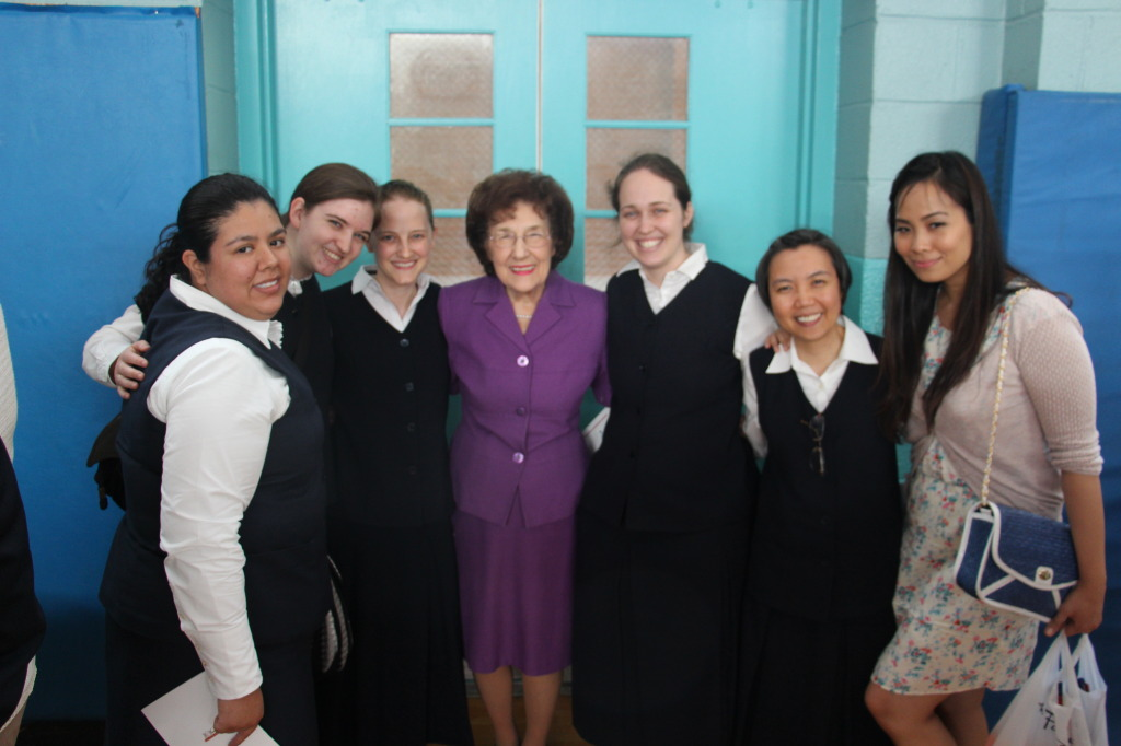 Mrs. Gillis, mother of Sr. Margaret Michael, FSP together here with novices of the Daughters of St. Paul and a friend