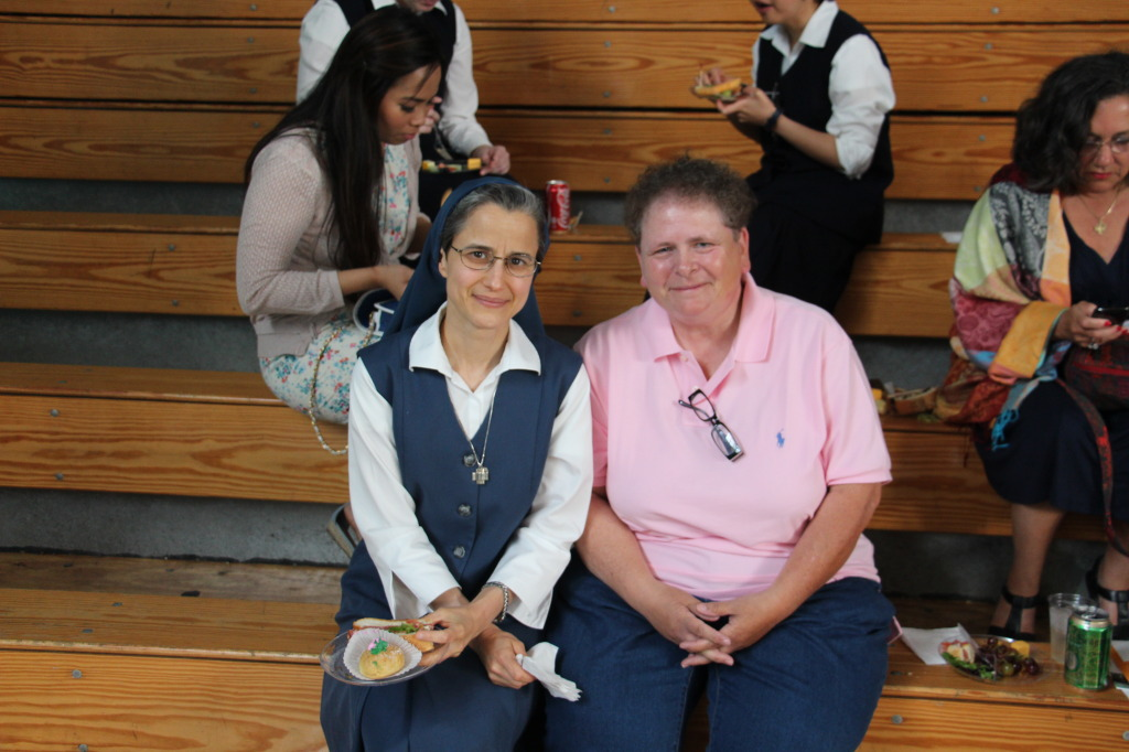 Sr. Carmen Christi of the Daughters of St. Paul with Marlene Rancourt, an Anunciationist.