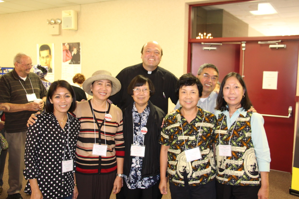 Fr. Michael Harrington with HFI members from San Jose, California and Fresno, California
