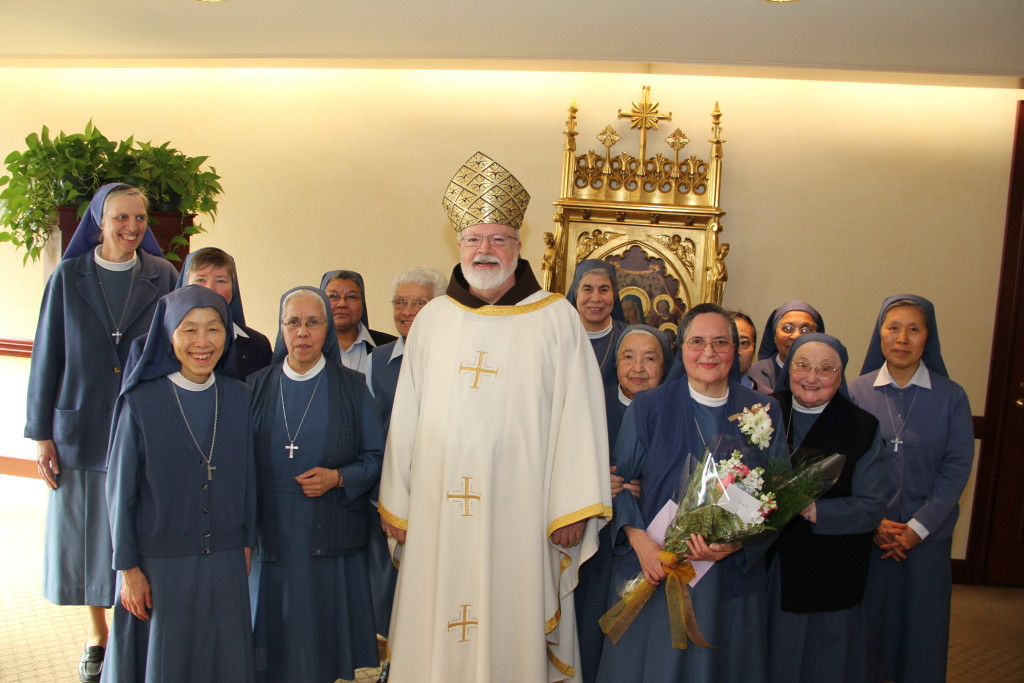 Cardinal Sean O'Malley with Sr. Michelle and members of her congregation, the Sister Disciples of the Divine Master