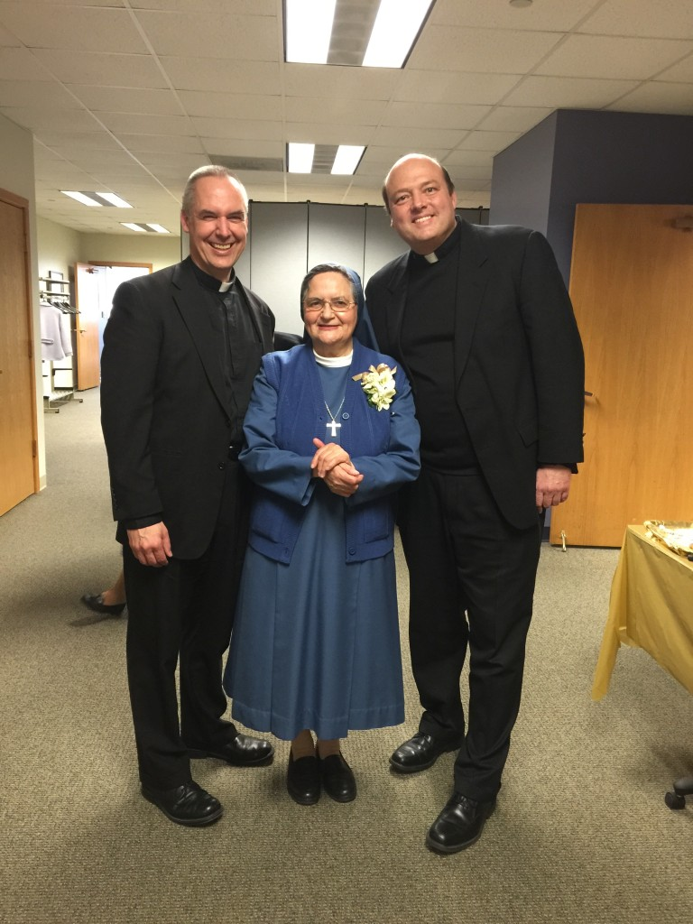 Sr. Michelle with Fr. Edward Riley and Fr. Michael Harrington of the Institute of Jesus the Priest