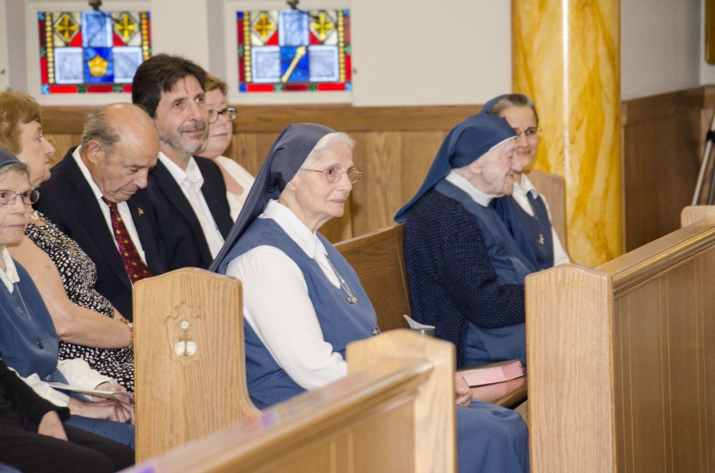 Sr. Mary Agnes listening intently.