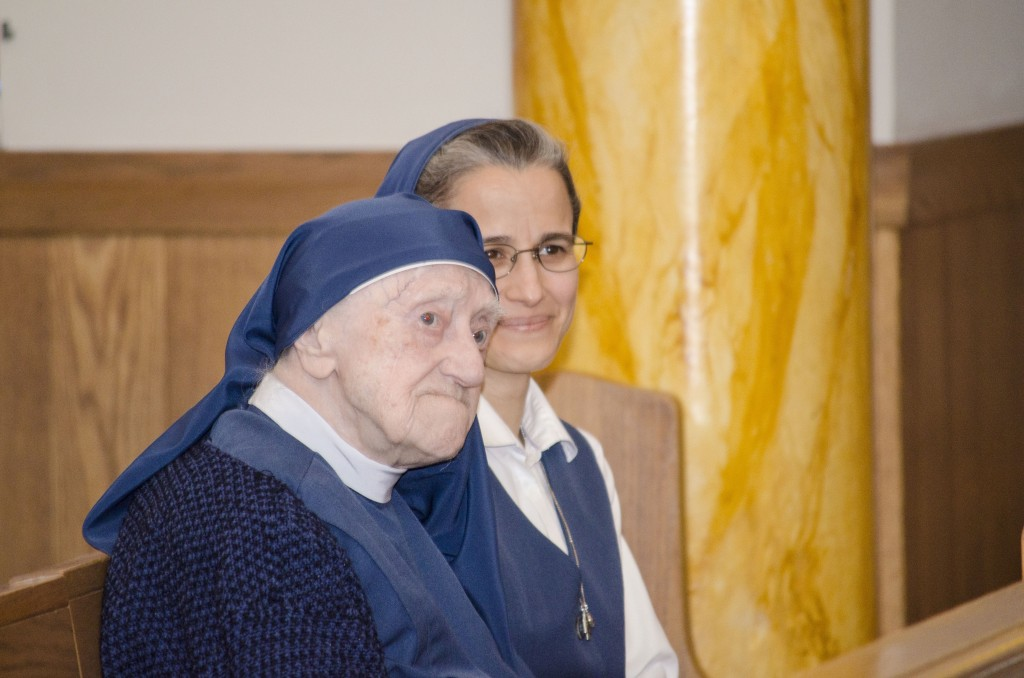 Sr. Mary Augusta  and Sr. Carmen Christi (Assisting Sr. Augusta during the Mass).