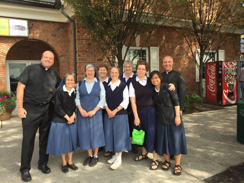 Fr. Mike and Fr. Ed with the Daughters of St. Paul as they all journey home from an amazing pilgrimage to the World Meeting of Families