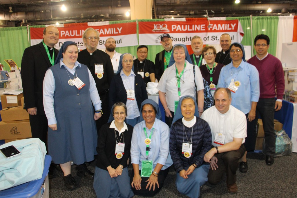 Some members of the Pauline Family who worked the booths at the Exhibit Hall. Unfortunately, our Holy Family members were missing at the time of the picture
