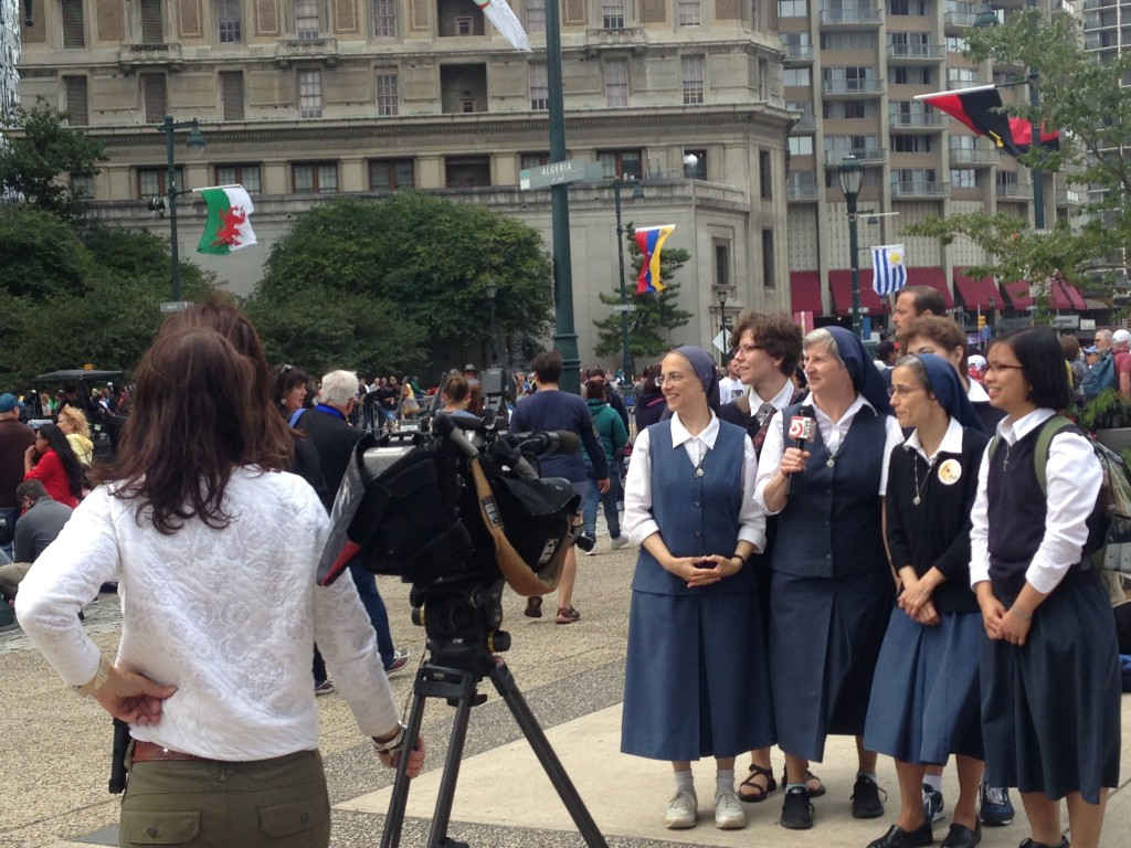 Daughters of St. Paul being interviewed by TV Station WCVB-TV