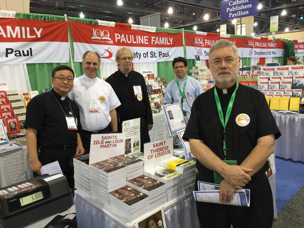 Some of our Society of St. Paul brothers and priests working the tables. Fr. Michael Goonan who took the lead in organizing our booths is in the foreground of the picture