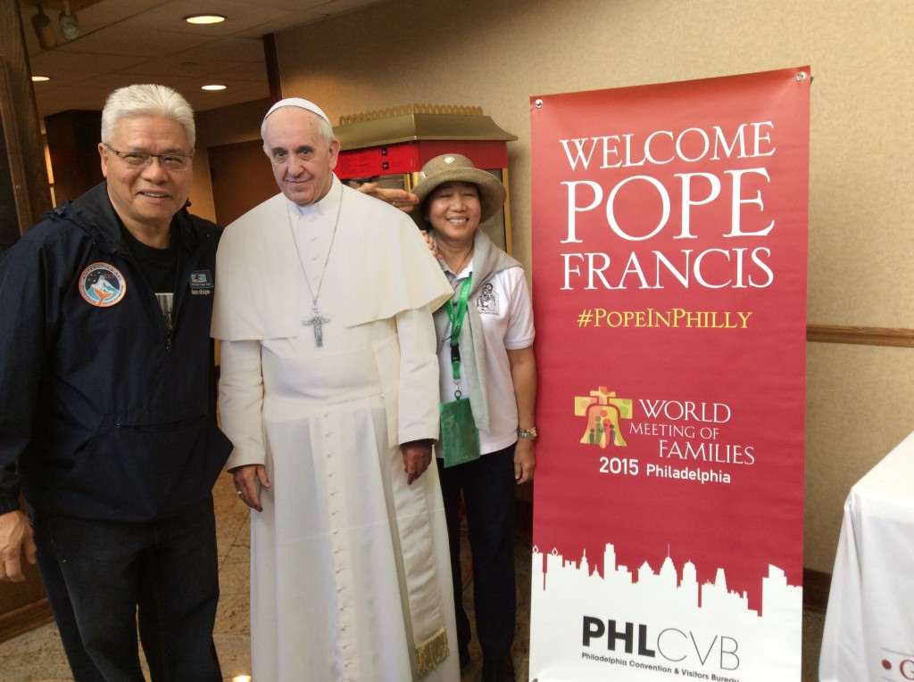 Roy Quinto and Rachel Quinto (the author of this article) with the Pope (well sort of)